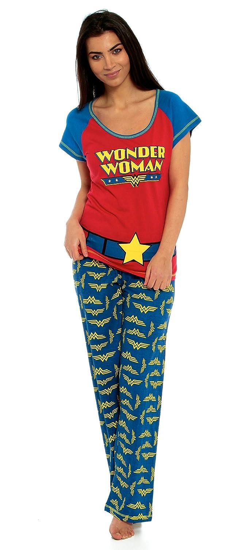 Juego de Wonder Woman traje de neopreno para mujer producto oficial de pijama 100% algodón azul y rojo pijama tamaño de la funda de UK 8 10 12 14 16 18 20 ...