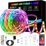 50ft/15M LED Strip Lights, Smart KIKO Led Lights Music Sync Color Changing Rope Lights SMD 5050 RGB Light Strips with…