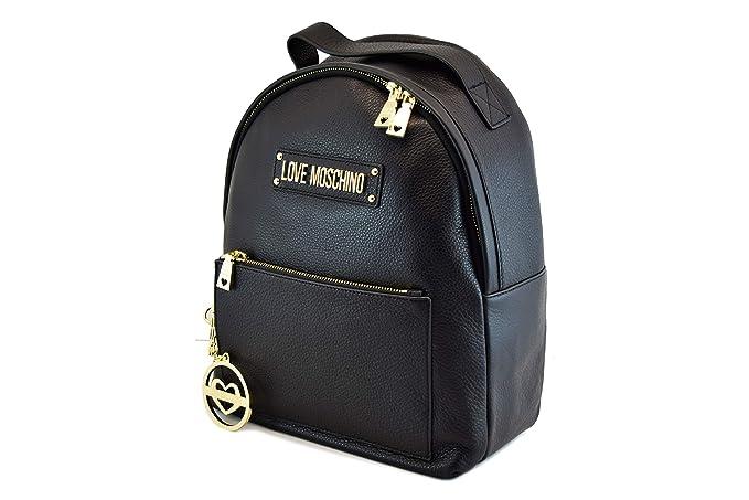 detalles para último descuento amplia selección de diseños Love Moschino Bolsa Mujer Mochila Piel Negra Oro Nueva ...