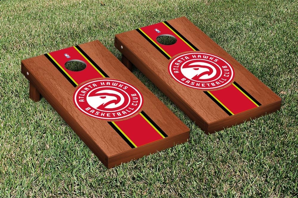 Atlanta Hawks NBA Basketball Regulation Cornhole Game Set Rosewood Stained Stripe Version