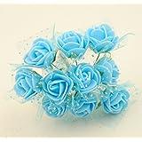 100x Fiorellini Rose ROSA Foam PE Con Organza Neve Bomboniera Fai Da te decorazione (AZZURRO)