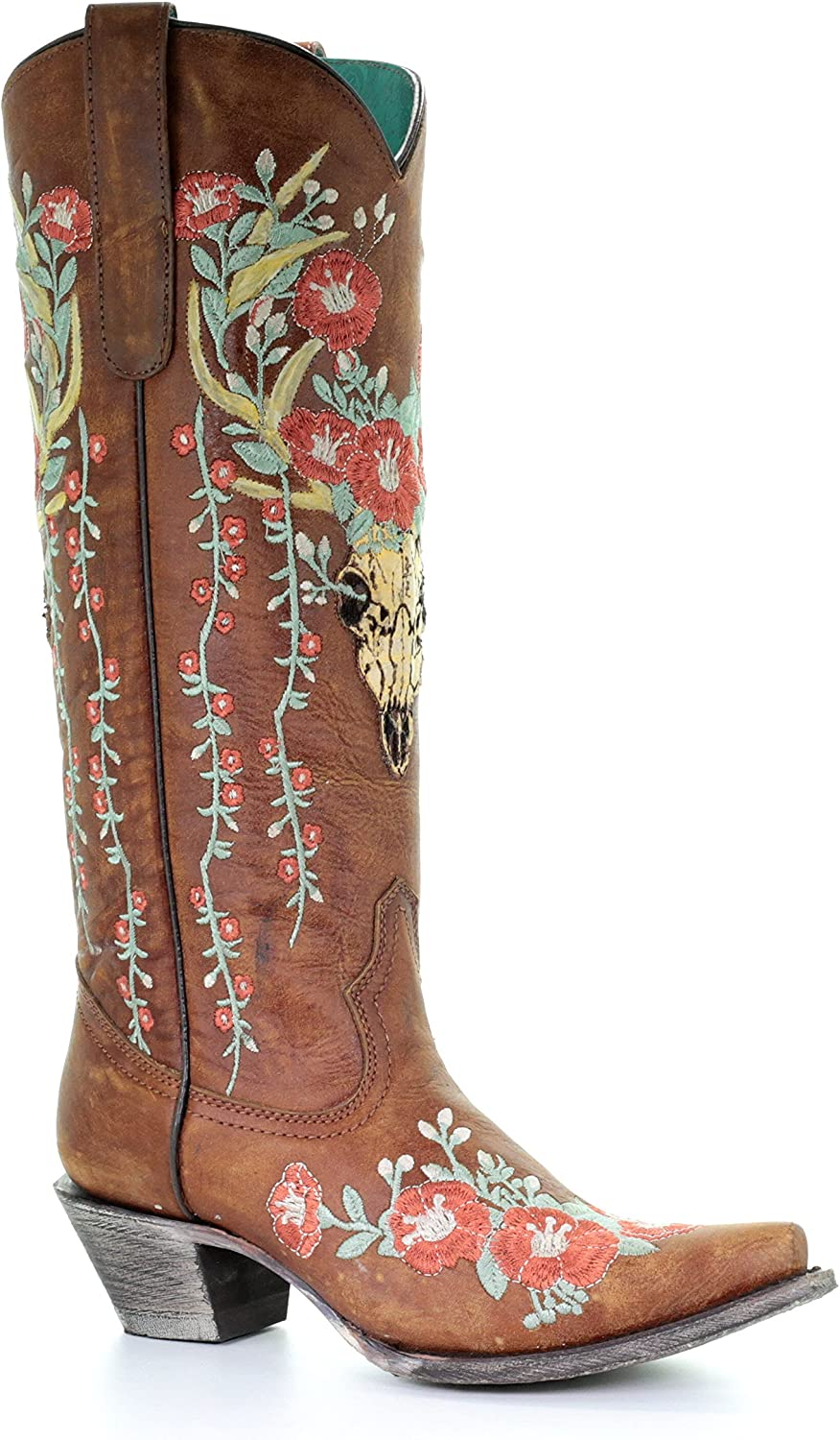 Corral Women's Juliet Deer Skull Overlay Floral Embroidery Cowgirl Boots - Tan