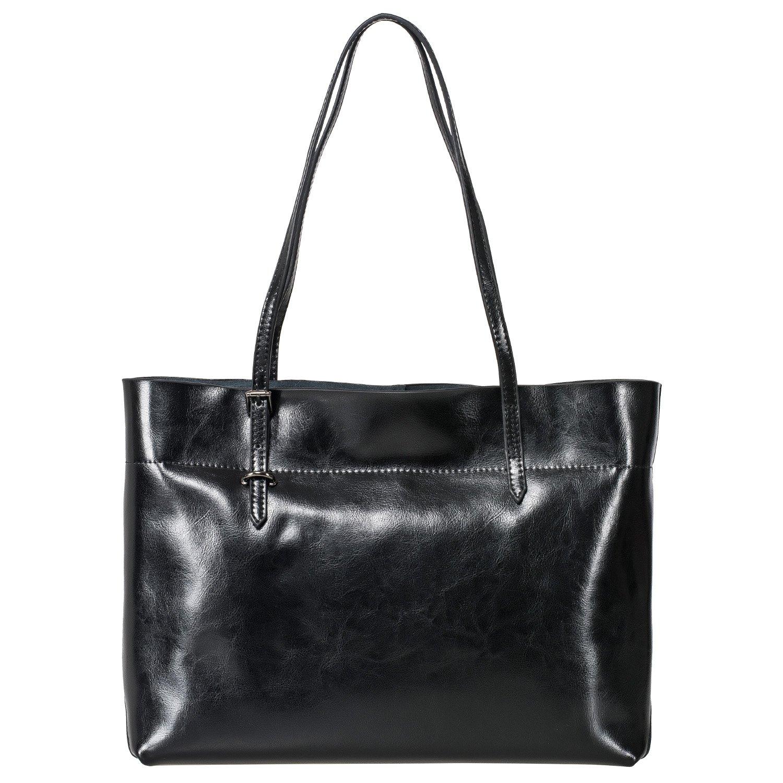 ZG Women's Vintage Genuine Leather Tote Shoulder Bag Handbag (Black) by Z•G (Image #1)