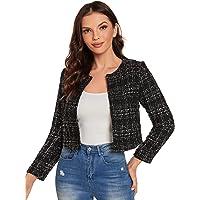 SheIn Women's Long Sleeve Plaid Tweed Open Front Cropped Jacket Work Office Blazer