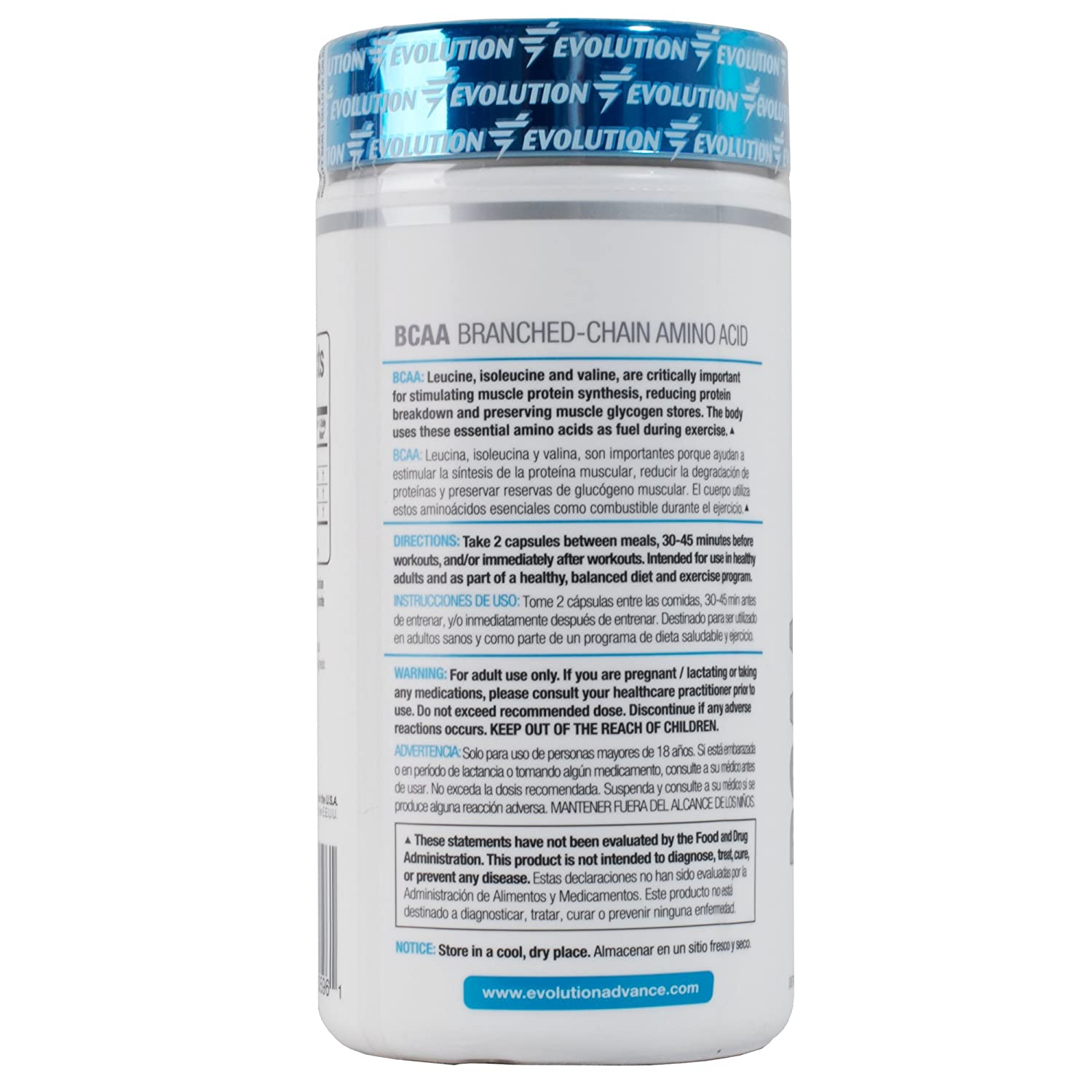 Amazon.com: Evolution Advance Nutrition BCAA 2:1:1 (500mg l-leucine, 250mg l-isoleucine, 250mg l-valine) dietary supplement capsules (120 vegetarian ...