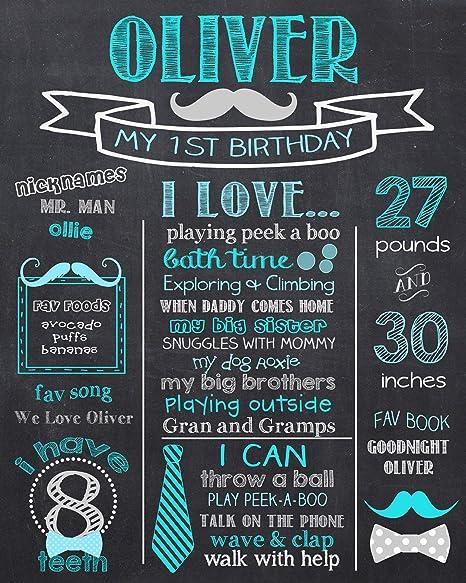Dozili - Placa de Pizarra Personalizable para el Primer cumpleaños ...