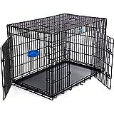 Songmics XXXL 2 Türen Hundekäfig Transportkäfig aus extra starkem Draht stabil und zusammenfaltbar