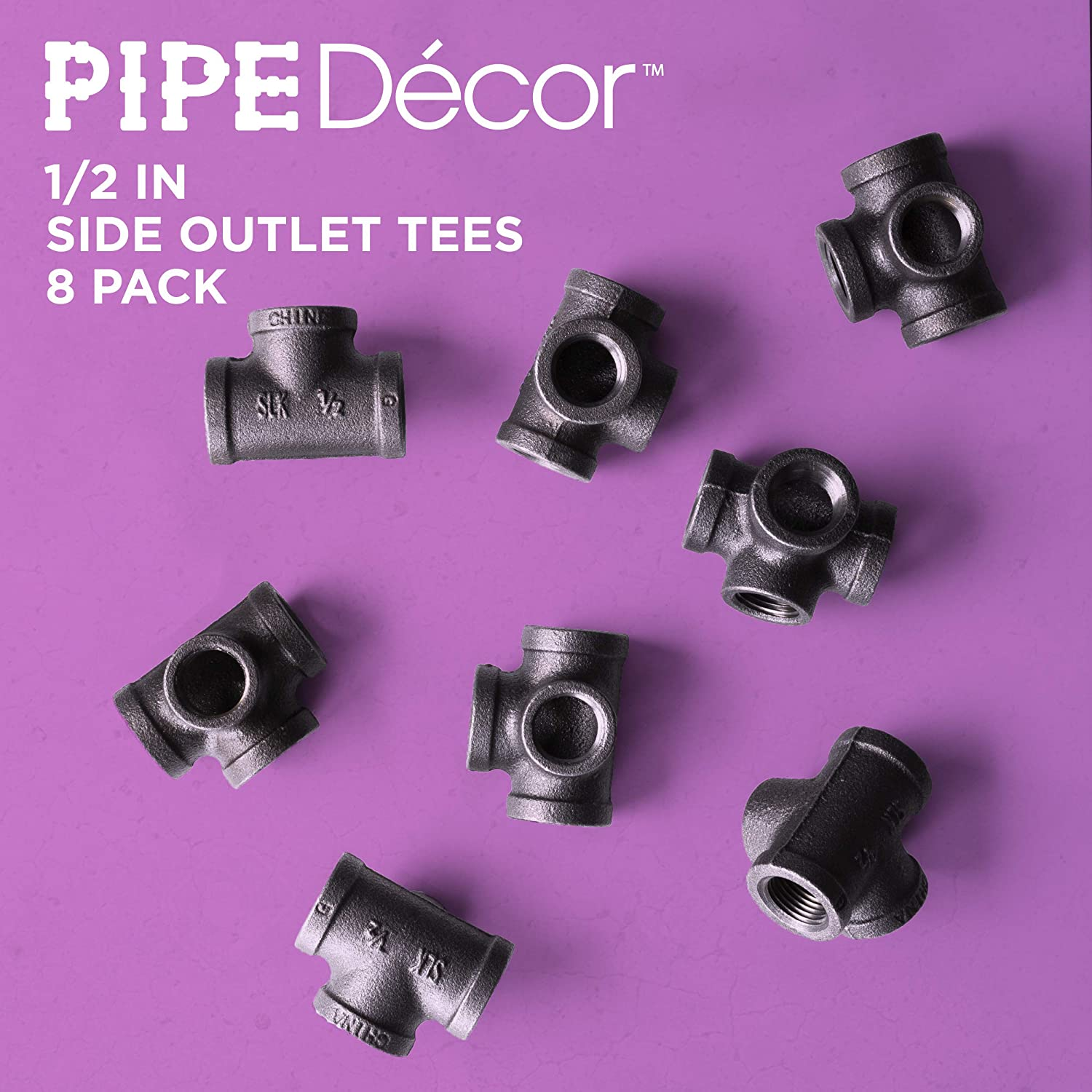 1/2 Inch Side Outlet Tee (4-Way) Industrial Cast Iron Pipe Fitting 8 Pack by Pipe Decor, Pipe Components For Building Tables, Chairs, Shelving, and Custom Furniture, Fits Half Inch Pipes, Eight Pack - -