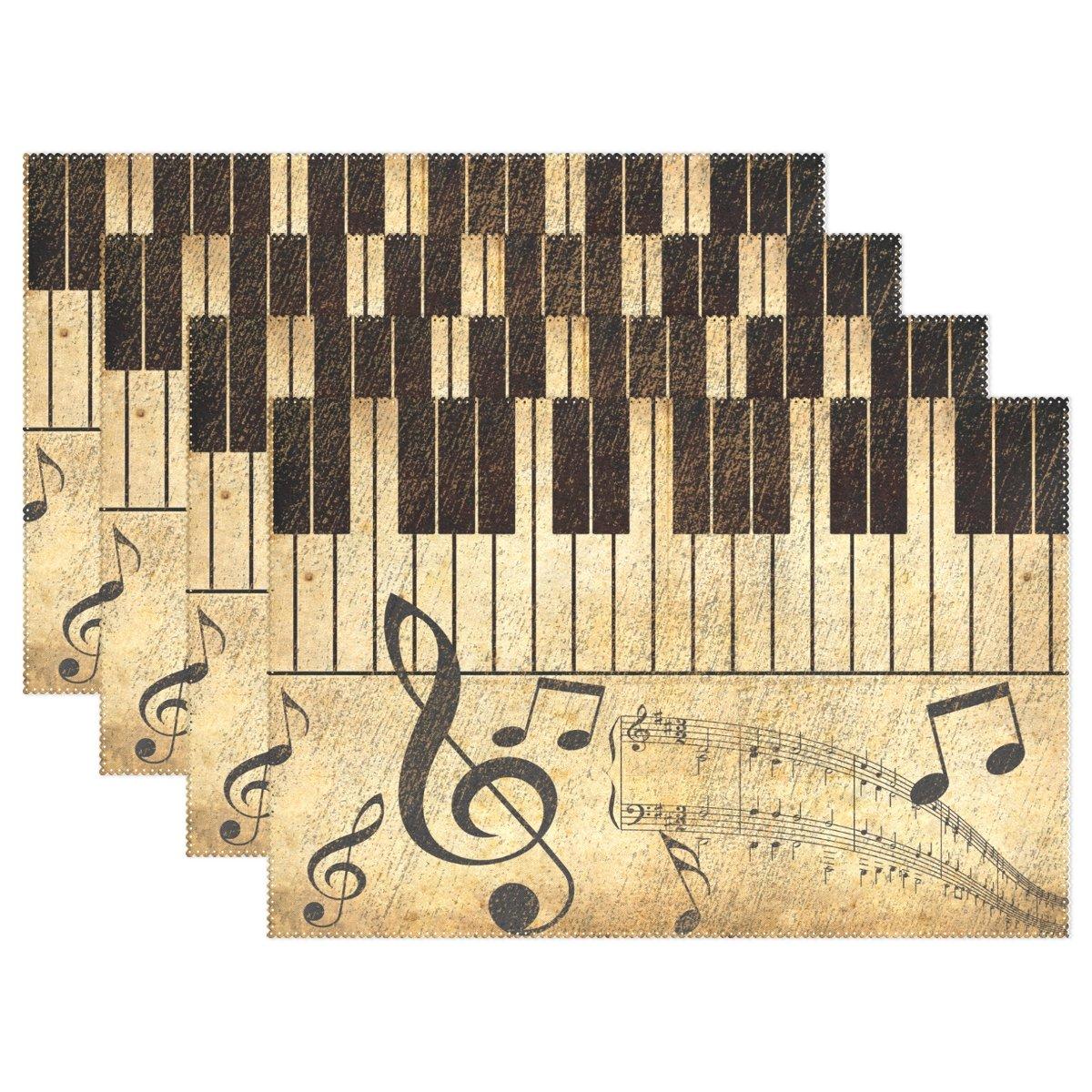 naanle Vintage Music Note and Piano Keys音楽スコアプレースマットのセット1 / 4 / 6 Washableテーブルマットキッチンダイニングテーブルfor 12 x 18インチPlaceマット 1075529p145c160s239 4 マルチカラー B0749HWY5L