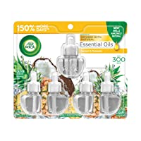 Air Wick Plug in Scented Oil Refill, Coconut and Pineapple, Air Freshener, Essential Oils, Coconut and Pineapple, 5 Count