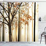 Ambesonne Autumn Shower Curtain, Picture of a Lonely Tree Leaves on an Abstract Woodland Background Print, Cloth Fabric…