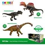 BLAGOO Dinosaur Toys with Moving Parts 3 Figures up to 9.4 inches Set #9 including Free Augmented Reality Educational Mobile App and 4D Cards