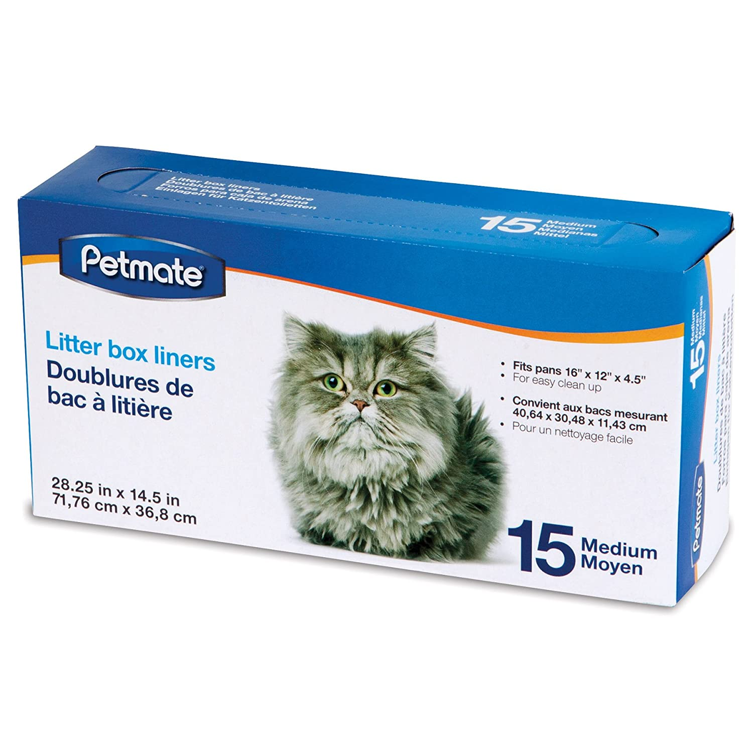 Amazon.com : Petmate Boxed Cat Litter Pan Liners 15 Count Medium : Litter Box Liners : Pet Supplies