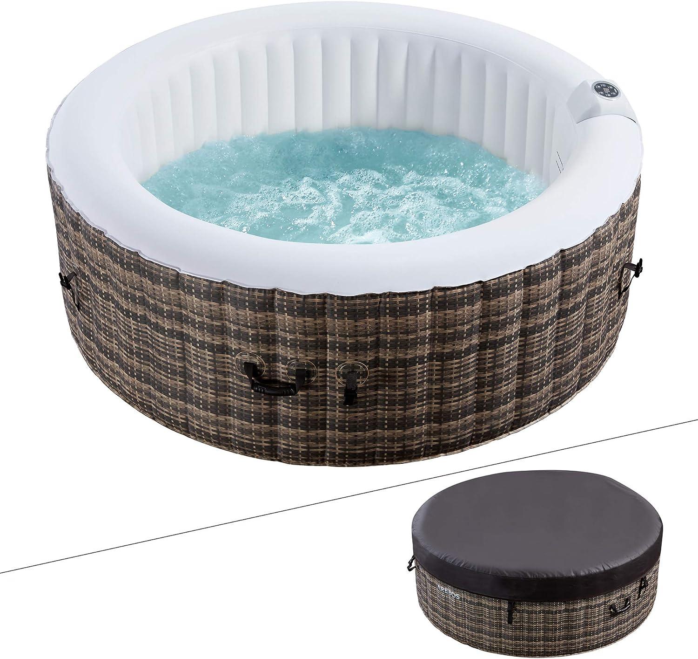 Arebos Whirlpool Granada | 4 personas | ratán | 100 boquillas de masaje | con calefacción | 800 litros