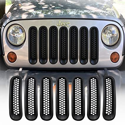 Yoursme Front Grill Mesh Grille Insert Matte Black Clip-in Covers for Jeep Wrangler JK