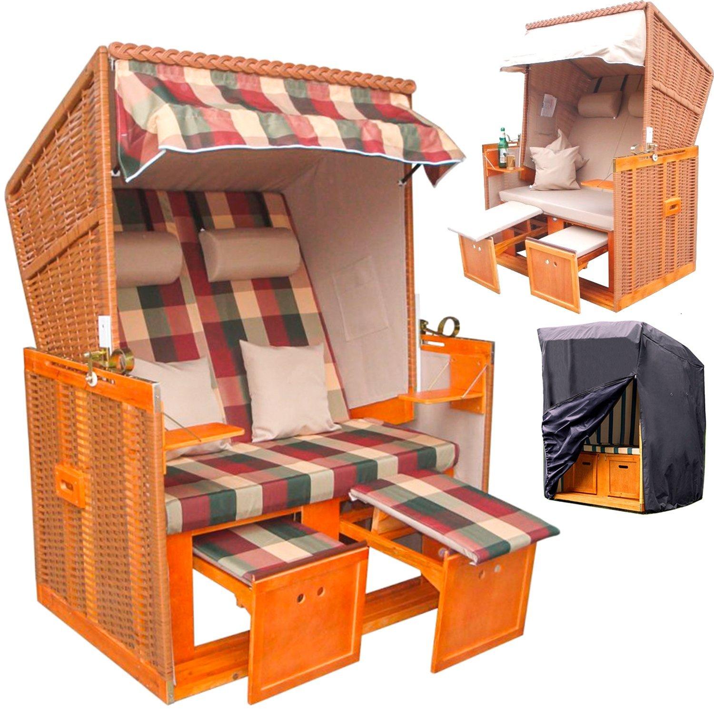 Schöner 2-Sitzer Strandkorb 'Toskana' + GRATIS Wechselbezug + GRATIS Premium Schutzhülle gegen Regen und Schmutz