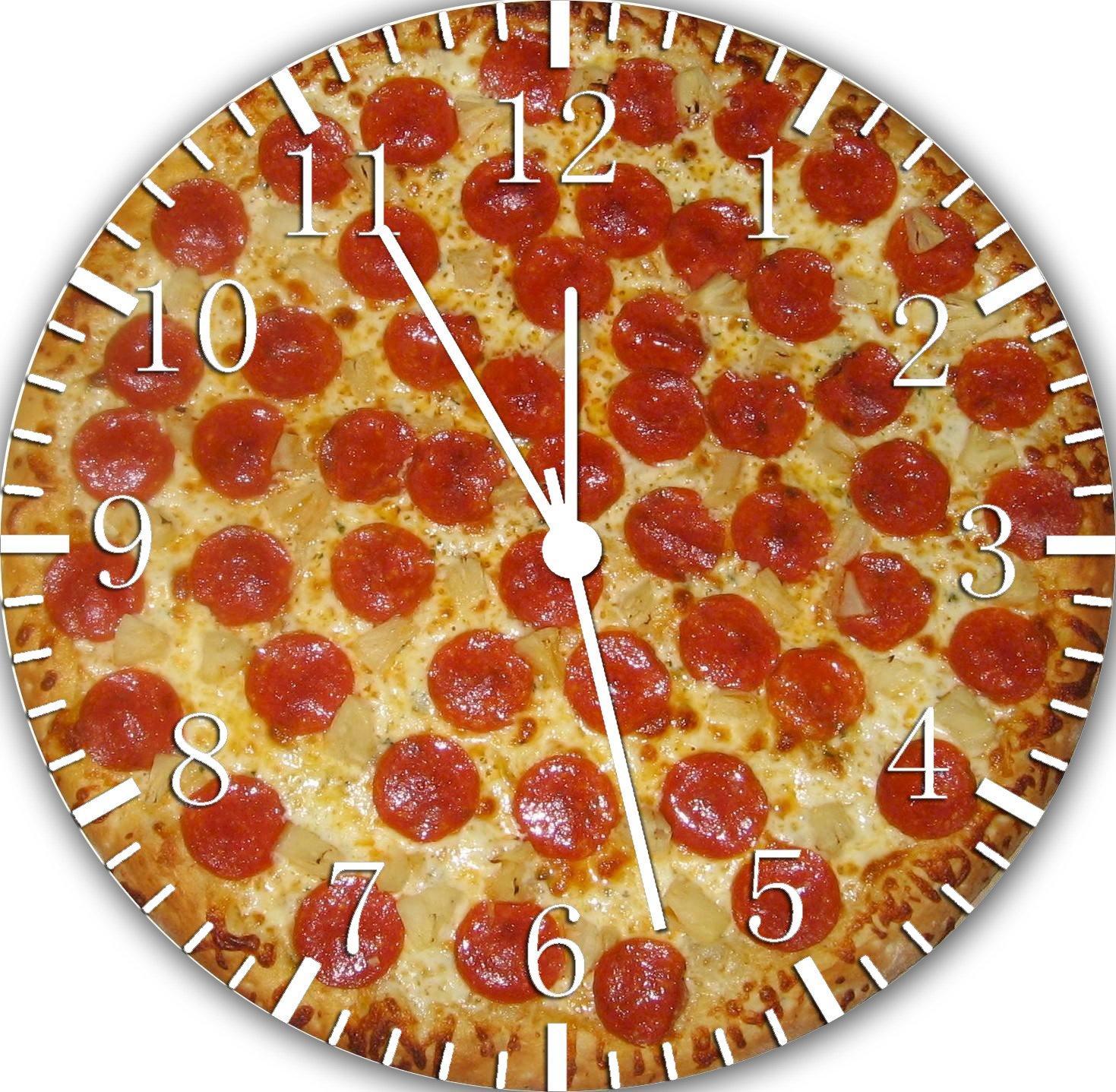 Pizza Frameless Borderless Wall Clock E158 Nice For Gift or Room Wall Decor