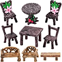 UINKE Miniature Fairy Garden Furniture Miniature Chair Table for Children Enchanted Garden Decorative Accessory