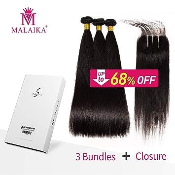 Seditty Hair MALAIKA Straight Hair Bundles with Closure(20 22 24+18  Closure)100% Brazilian Straight
