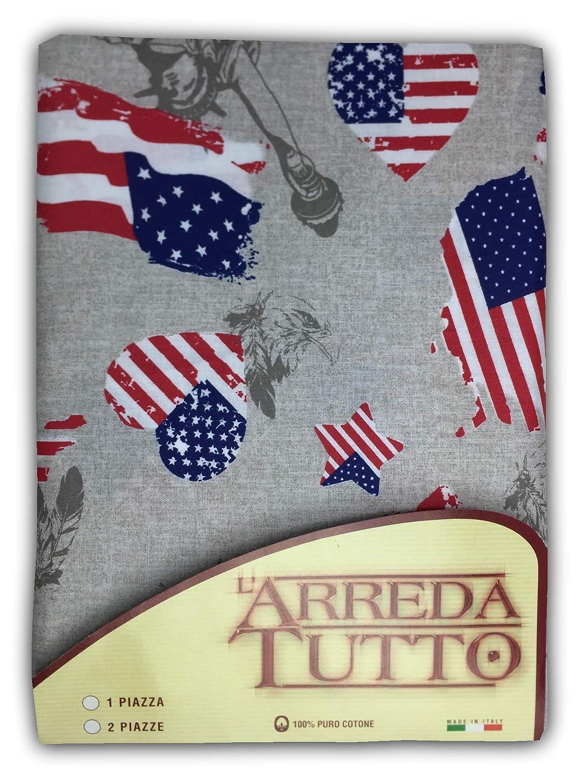 tex family Telo ARREDO COPRITUTTO Gran Foulard COPRILETTO COPRIDIVANO Tessuto Bandiera Americana New York 1 Piazza