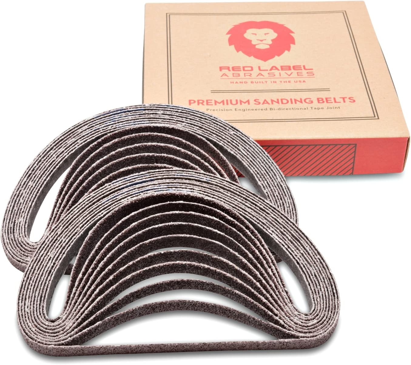 1/2 X 18 Inch 36 Grit Aluminum Oxide Air File Sanding Belts, 20 Pack