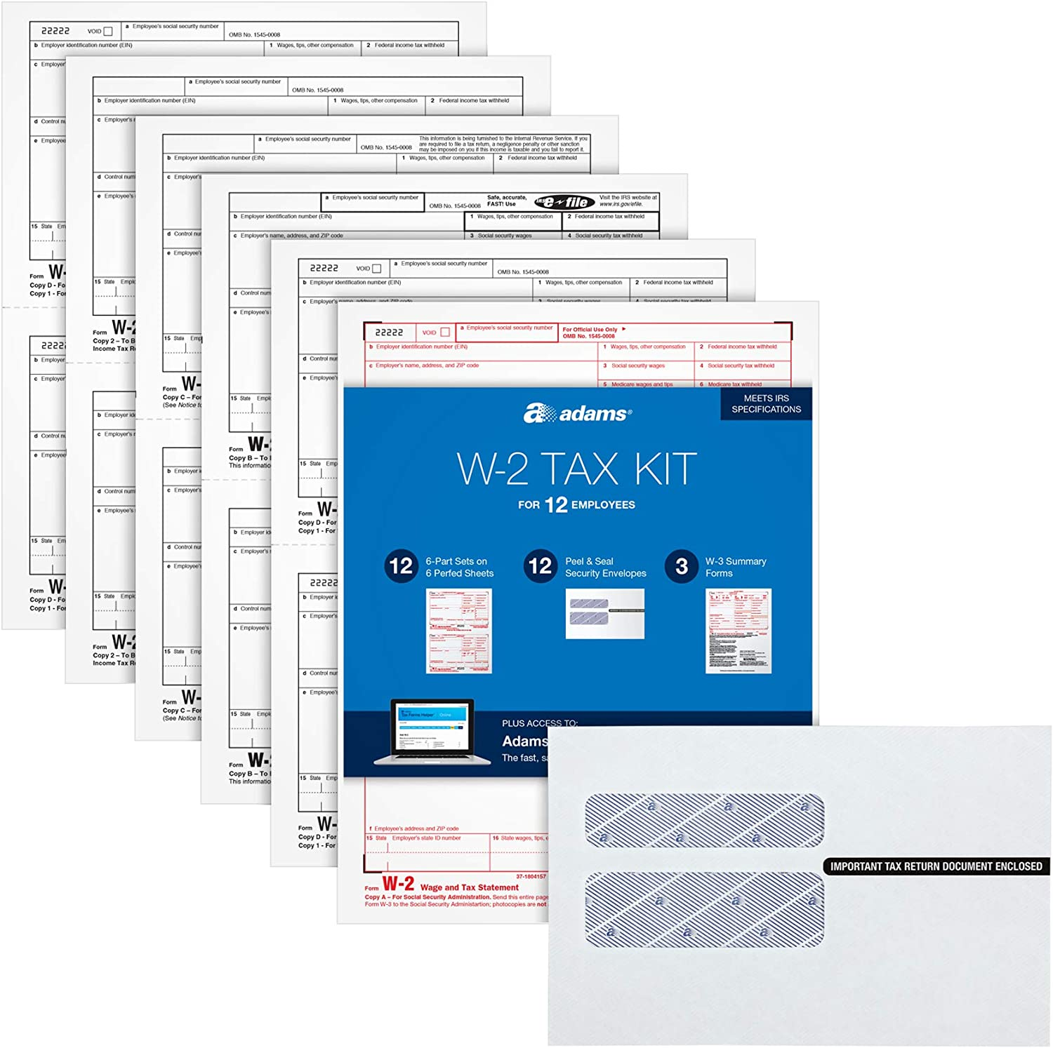 Adams W2 Forms 2020, Tax Kit for 12 Employees, 6-Part Laser W2 Forms, 3 W3, Self Seal W2 Envelopes & Adams Tax Forms Helper Online (TXA12618-20), White, 8-1/2 x 11