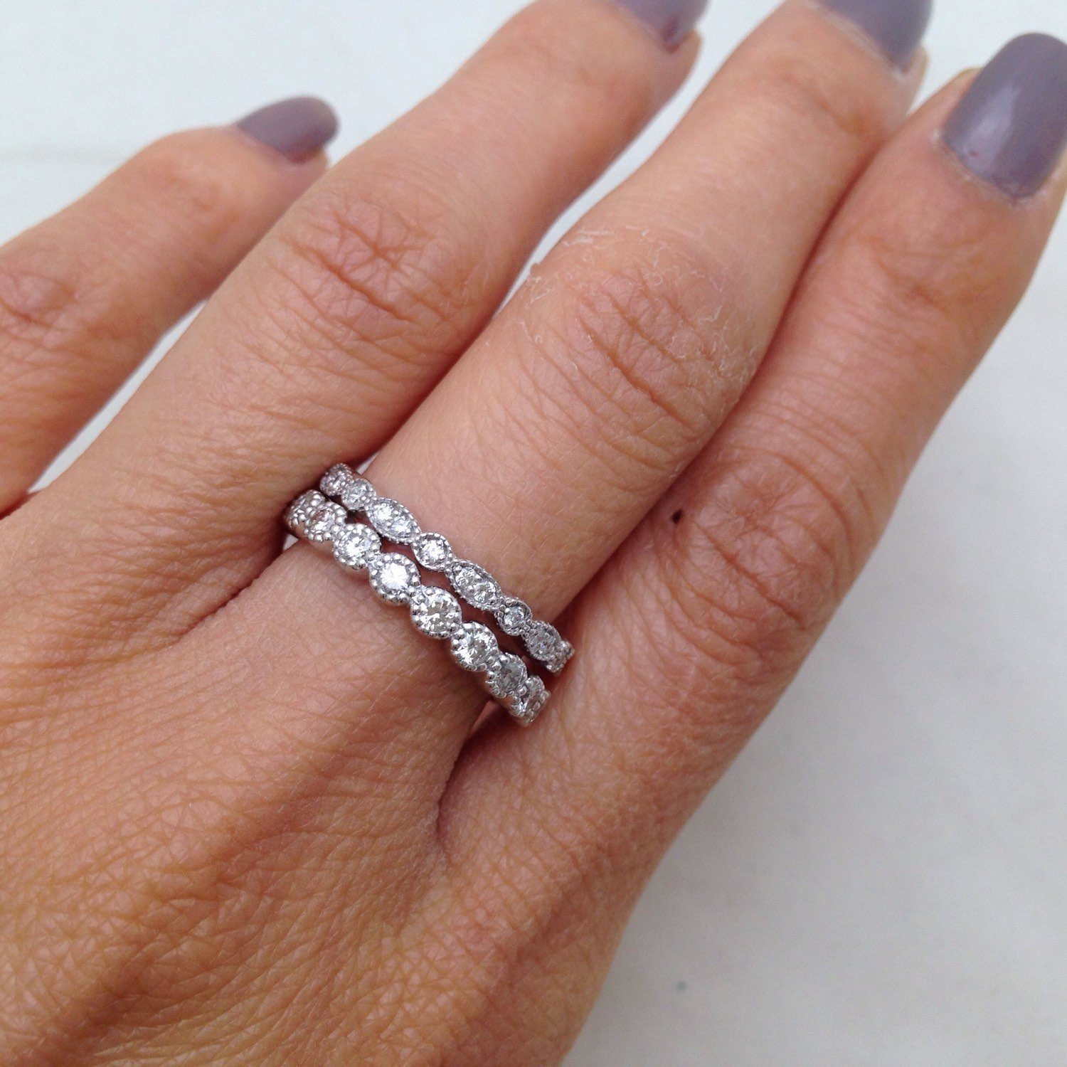 Amazon Bead and Eye Stacking Wedding Band Diamond Ring Art