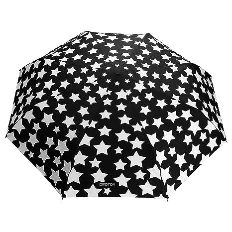 Paraguas Plegable-con 8 Varillas,OMOTON Paraguas Automático de Viaje de Color Negro,