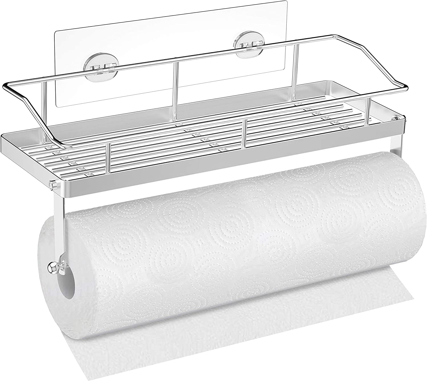 SMARTAKE Paper Towel Holder with Shelf, Shower Caddy & Paper Towel Combination, Stainless Steel, Wall Mounted Paper Towel Holder Rack with Adhesive, Storage Organizer for Kitchen, Bathroom and Dorm