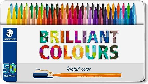 Staedtler Triplus Color 323 M50. Rotuladores de colores de punta fina multicolor. Estuche con 50 marcadores: Amazon.es: Oficina y papelería