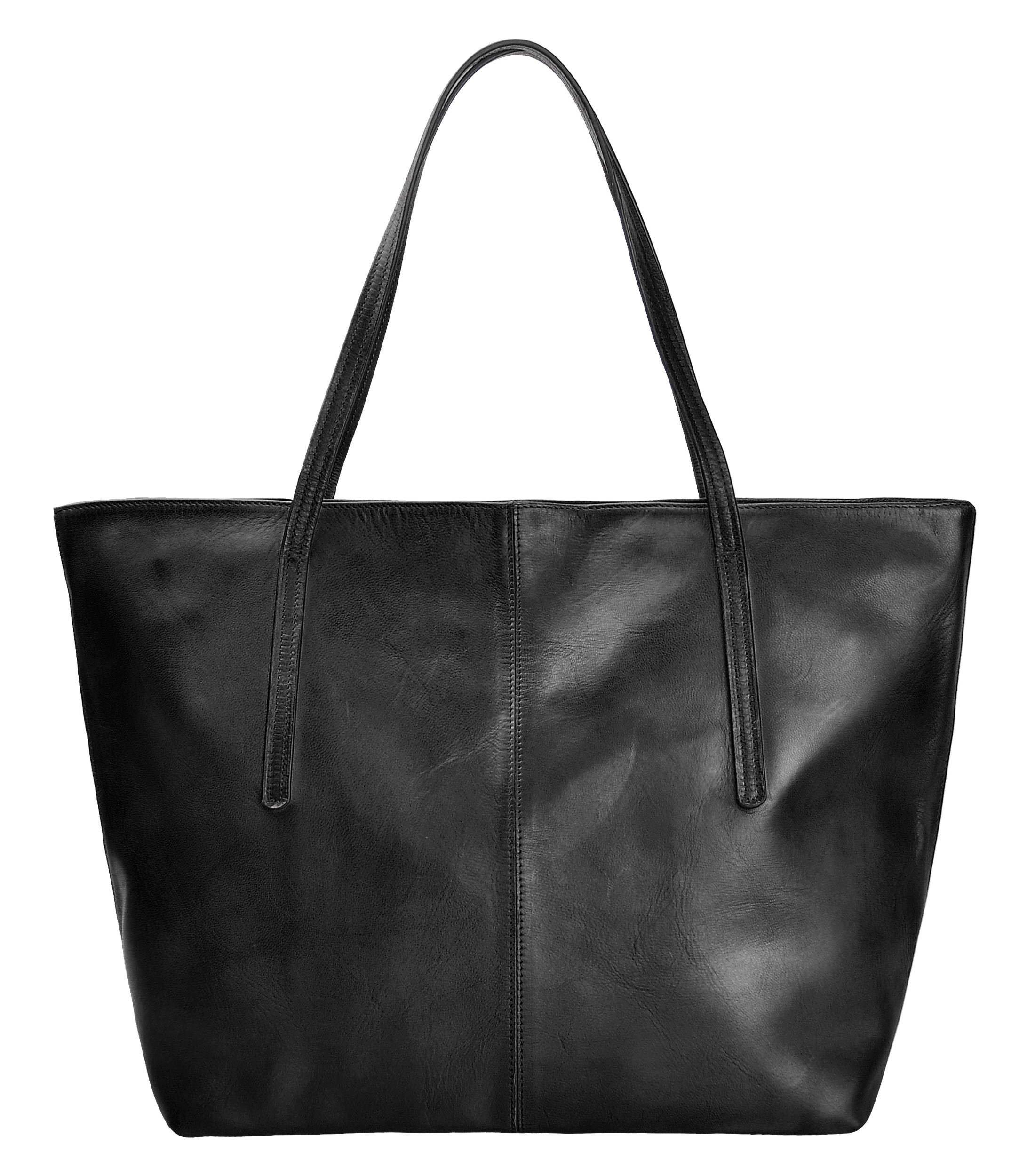 ZLYC Women Vintage Dip Dye Leather Tote Bag Handbag Large Zippered Shoulder Bag, Black