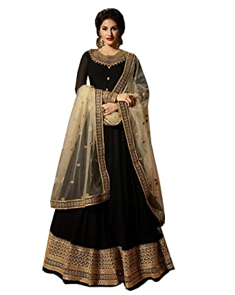 4958d3cbea Delisa Indian/Pakistani Bollywood Party Wear Long Anarkali Gown for Womens  NG (Black,