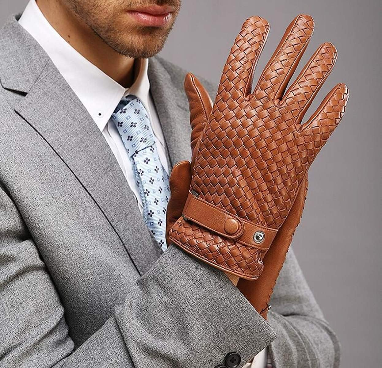CWJ Mens Suede Leather Gloves Weaving Winter Warmth