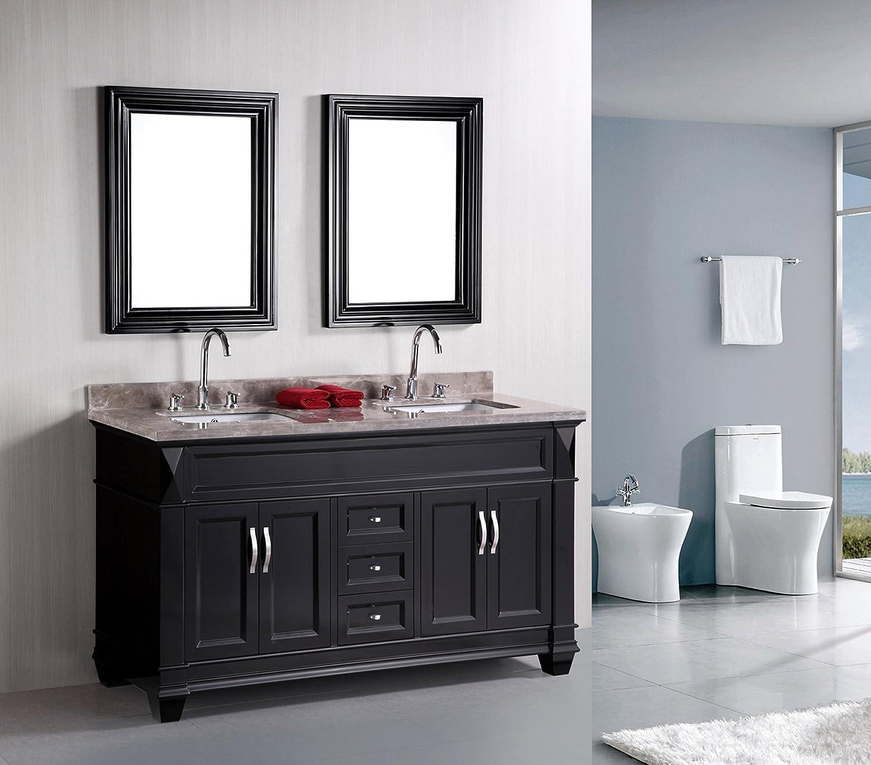 Design Element Hudson Double Under-Mount Sink Vanity Set With Badel Gray  Marble Countertop, 60-Inch - - Amazon