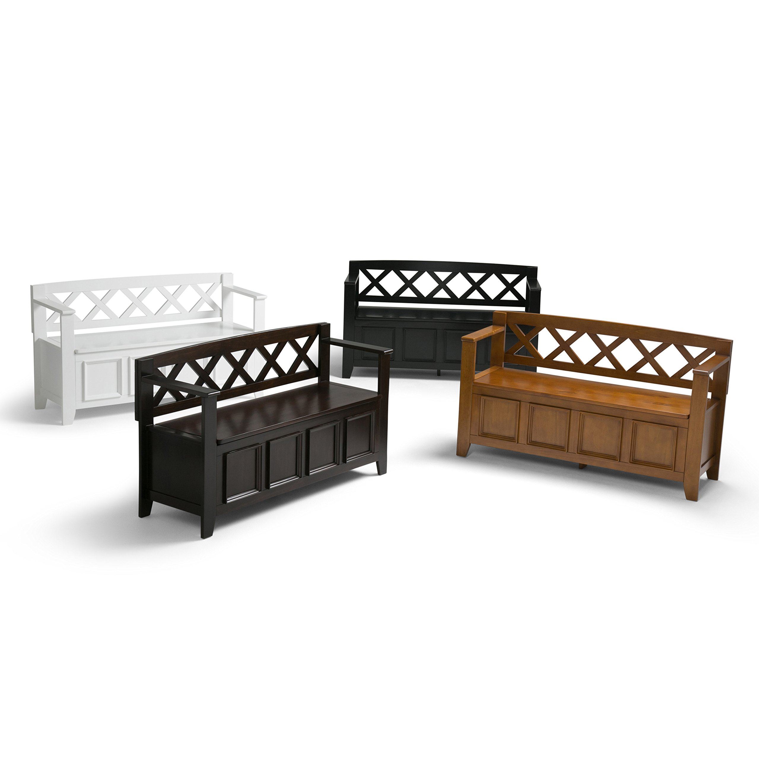 Simpli Home Amherst Solid Wood Entryway Storage Bench, Light Avalon Solid Wood Brown by Simpli Home (Image #7)