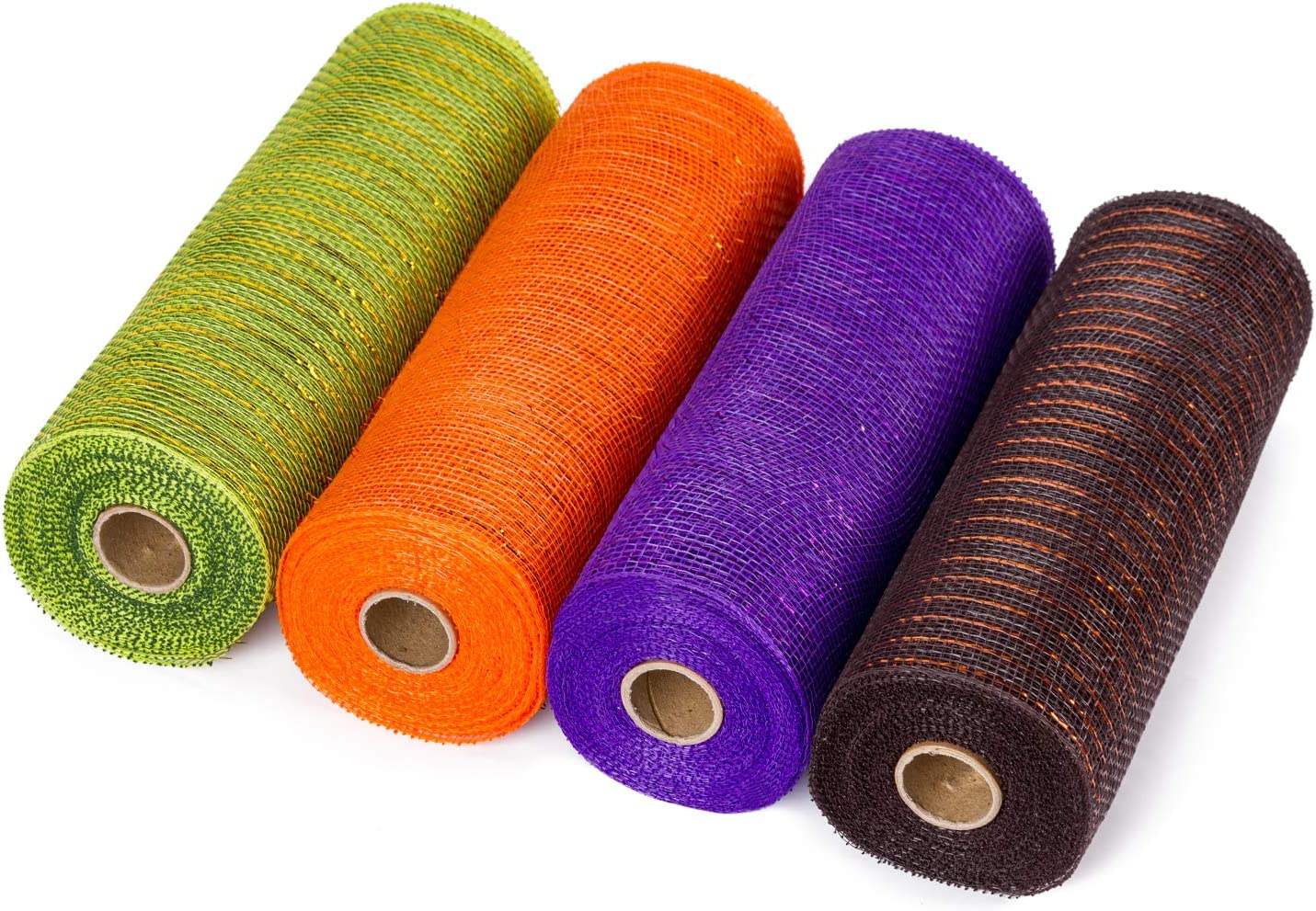 LaRibbons Deco Poly Mesh Ribbon - 10 inch x 30 feet Each Roll - Metallic Foil Orange/Black/Purple/Green Set for Wreaths, Swags and Decorating - 4 Pack