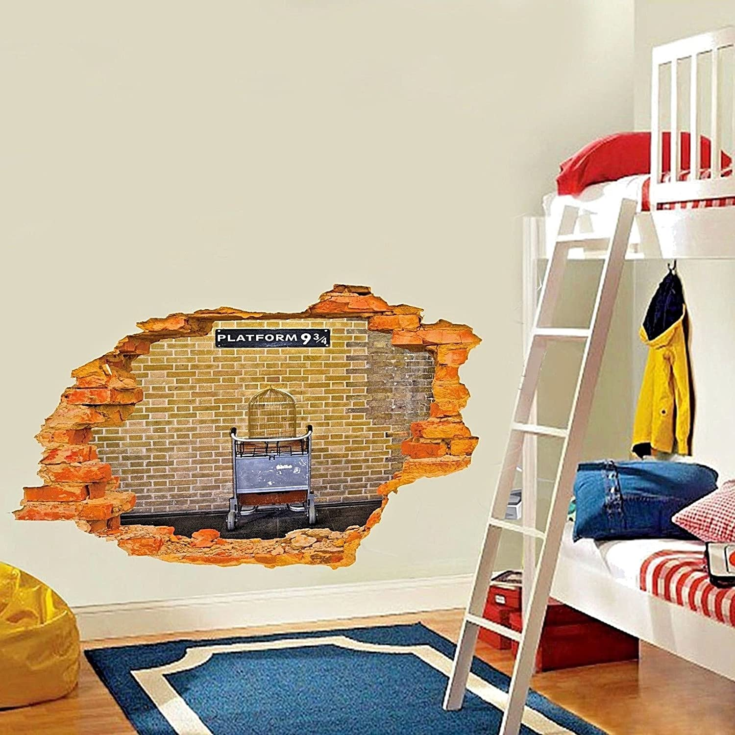 Wall Sticker Wall decor for Bedroom // Living Room // Kids Room Harry Potter Platform 9 3//4 Self Adhesive Vinyl Decal Peel and Stick DIY - Broken Wall // Hole in the Wall // Smashed Wall 3D Look
