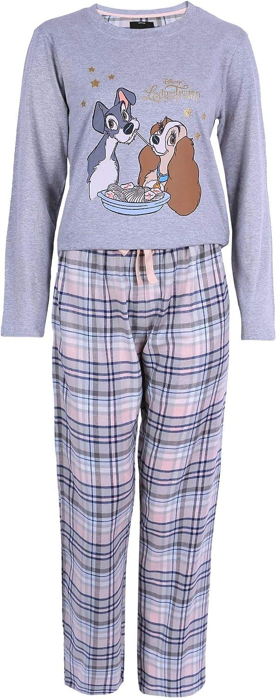 Pijama La Dama y el vagabundo Disney, Estampado de Cuadros, Color Gris