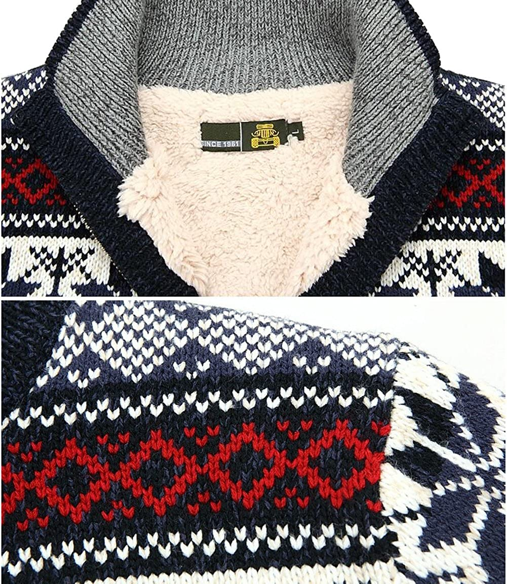 Mens Winter Cotton Knitted Cardigan Stand Collar Thick Jumper Sweater