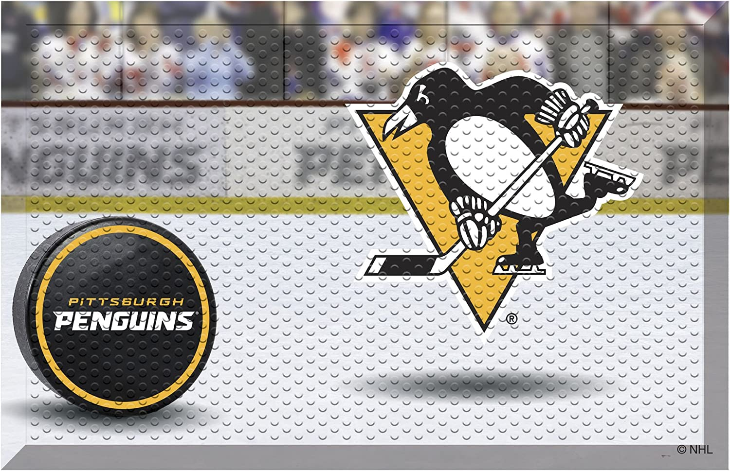 FANMATS 19168 Team Color 19 x 30 Pittsburgh Penguins Scraper Mat NHL Puck
