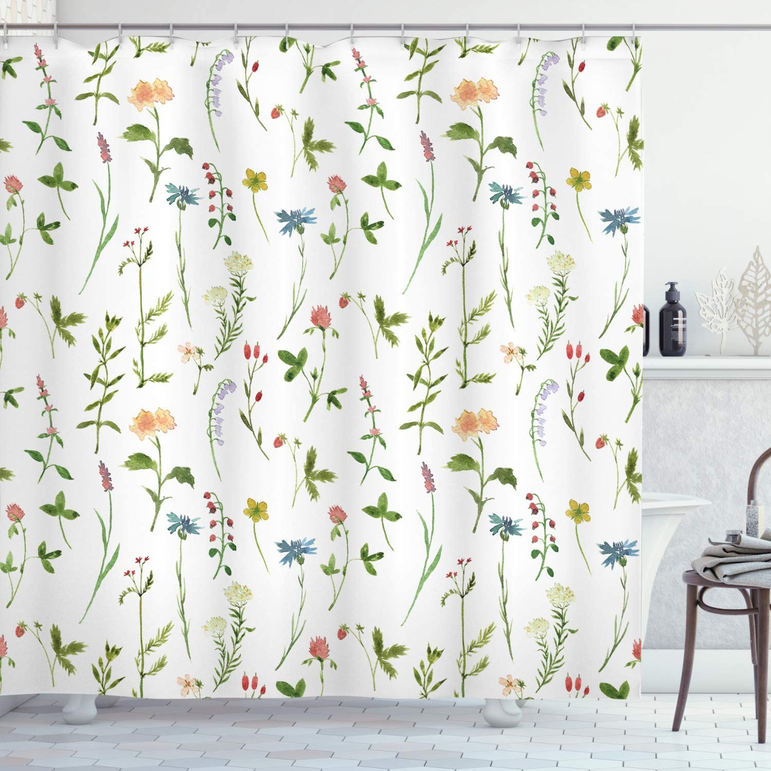 "Ambesonne Floral Shower Curtain, Spring Season Themed Watercolors Painting of Herbs Flowers Botanical Garden Artwork, Cloth Fabric Bathroom Decor Set with Hooks, 70"" Long, Ivory"