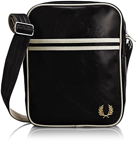 2af79716b9343 FRED PERRY BORSELLO BORSA A TRACOLLA CLASSIC nero   ecru BLACK SHOULDER BAG  PVC 28x22x5 cm UOMO DONNA UNISEX  Amazon.it  Scarpe e borse