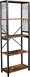 Lavievert Industrial Bookshelf, 5-Tier Vintage Bookcase with Rustic Wood and Metal Frame, Multipurpose Storage Display Rack for Home & Office