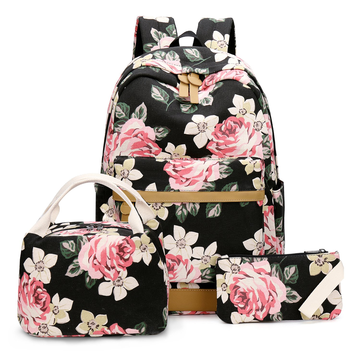 BLUBOON School Backpack for Girls Canvas Laptop Backpack Teens Bookbag Set Lunch Bag Purse (Flower Black - 3pcs)