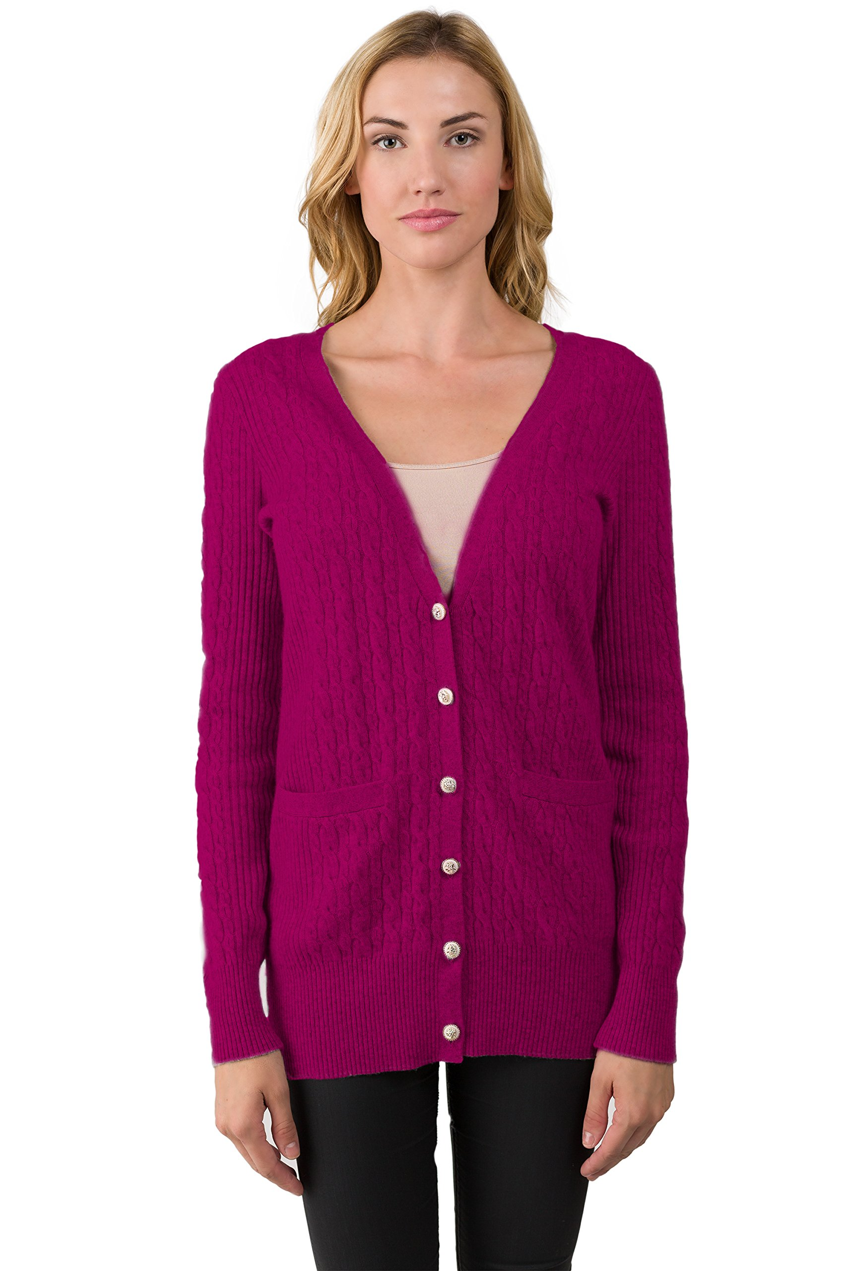 J CASHMERE Women's 100% Cashmere Cable-knit V-neck Long Button Cardigan Sweater Berry Medium by JENNIE LIU (Image #1)