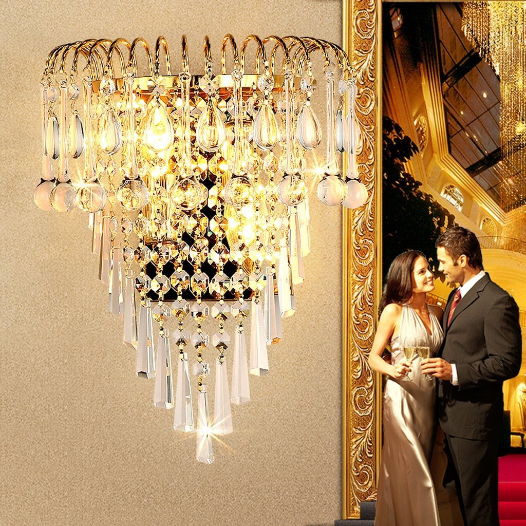 MOMO Luxury K9 Crystal Wall Lamp European Creative Living Room Lights Gold Led Bedside Lamps by MOMO (Image #3)