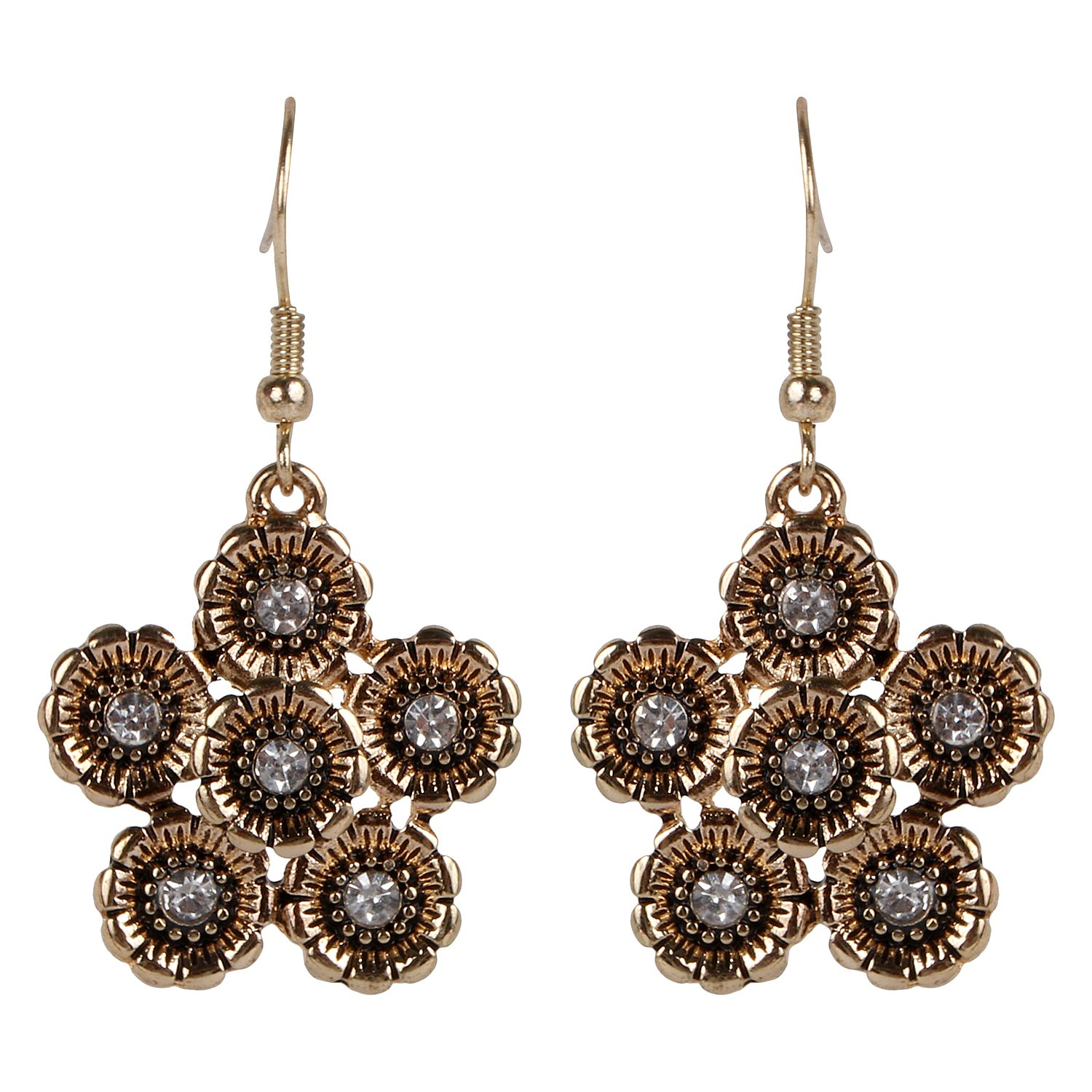 ASHIS Collection Daisy Shaped Flower Ear-Ring with Shiny Studded Crystal for Women /& Girls