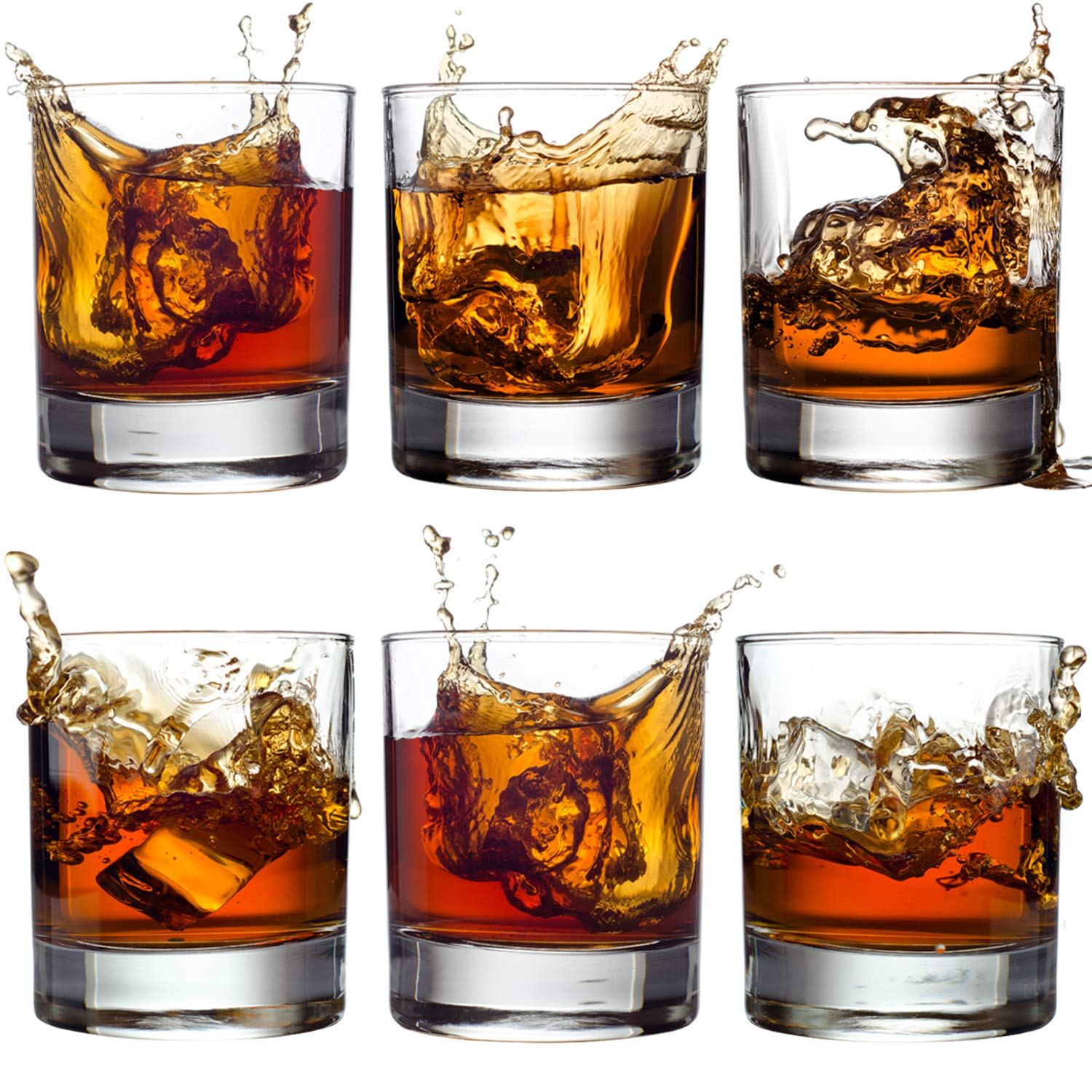 Old Fashioned Whiskey Glass Set, Premium Rocks Bourbon Glasses, 11 OZ / Set of 6, Lead-Free Crystal, Bar Drinking Glass Tumbler for Scotch, Cognac, Irish Whisky and Cocktails, Perfect Gift by Volarium