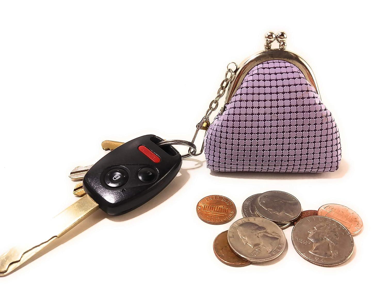 Frewahmesh Porte-monnaie pour femme en maille m/étallique avec fermoir mousqueton Violet 2