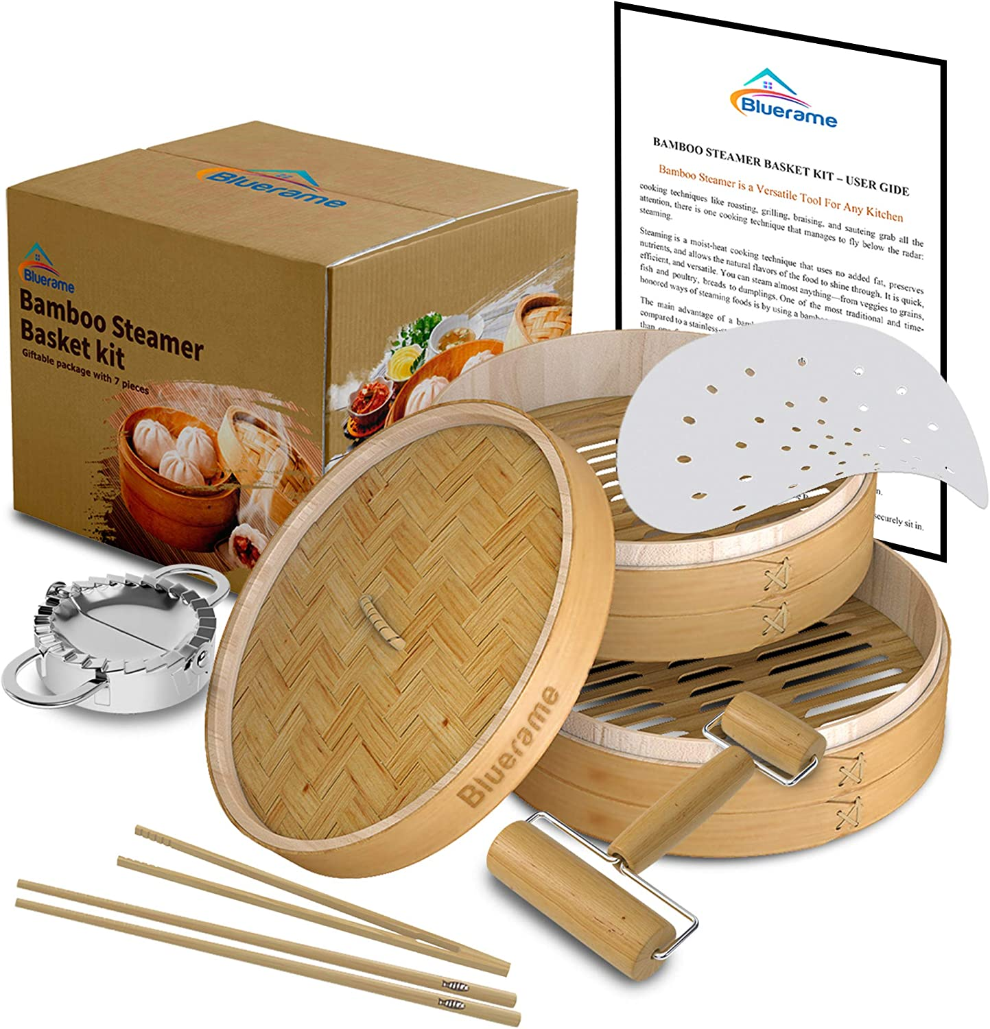 Bamboo Steamer basket Kit 10 inch with Lid,Dumpling Maker,handmade Cookware for cooking,Two Tier,Healthy Food Steamer,Chinese Cooker for Vegetables,Dim Sum,Chopstick,Cutter dough,Rolling Roll,Bao Buns